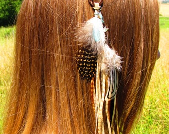 Fascinator, totem, Fox, Jay, Opal, Rooster and pheasant feathers