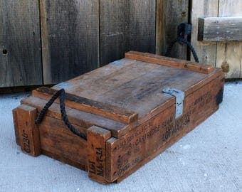 Vintage Military Ammunition Box, Ammo Crate For Cannon With Explosive Projectiles, M1 And M29 Mortar Crate