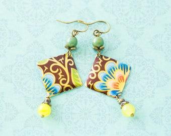 Colorful Metallic Flower Vintage Tin Diamond Shaped Earrings with Turquoise Czech Glass Beads and Yellow Glass Beads, Antique Brass