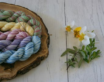 Merino Sock Yarn Mini Skeins - 5 x 20g - 4ply Variegated Easter Ostara Colours - hand dyed