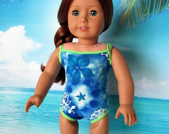 18 Inch Doll Swimsuit-Girl Doll Swimwear, Blue/Green Tropical Floral Swimsuit sized to fit 18 inch dolls such as American Girl dolls