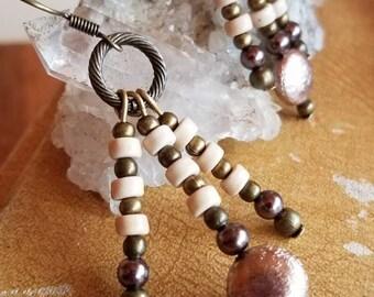 Boho Bronze Earrings, Bronze Dangle Earrings, White Stone Earrings, Howlite Earrings, Boho Earrings, Bronze Earrings