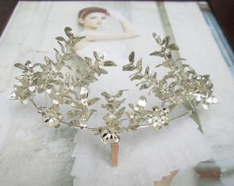 Vintage silver plated Myrtle Crown, Myrtle wedding Crown, Bridal tiara, silver plated, antique bridal Crown 1940-11