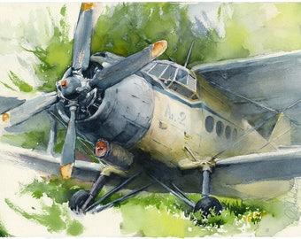 Airplane painting - airplane artwork - pilot gift - aviation art - bathroom wall art