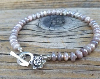 Mystic Moonstone Bracelet and Hill Tribe Silver, Karen Hill Tribe Flower Charm, Layering Bracelet, Artisan Jewelry, Beachy, Gifts for Her