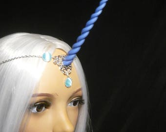 Ocean Mist Unicorn - Tiara with handsculpted blue metallic horn - Princess Luna