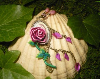 When the last Petal falls... - The Beauty and the Beast - Necklace with handsculpted Rose, Petals and a brass Mirror