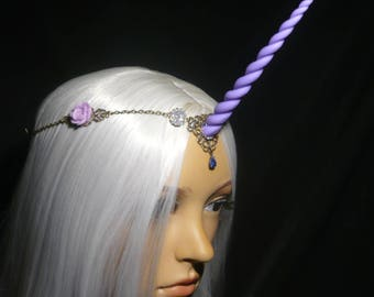Lilac Rose Unicorn - Tiara with handsculpted lilac-lavender purple Horn