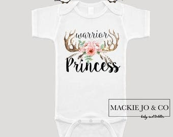 Warrior Princess Arrow with Flowers and Feathers Boho Baby Bohemian Bodysuit