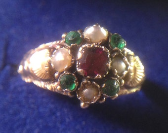 Antique early victorian ring, marked 1858, solid gold 9ct, garnet, natural pearls and green stones