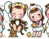 12 Animal Zoo 2 - SO-G48 - Children in Customes Cross Stitch Pattern Leaflet Soda Stitch - Modern Cross Stitch Chart - Kawaii - Kids XStitch