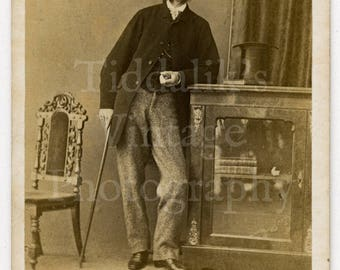 CDV Carte de Visite Photo Victorian Young Handsome Man with Mutton Chops Holding a Cane - Photographer Unknown