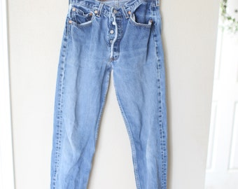 vintage distressed  levis 501  jeans high rise waist denim 30