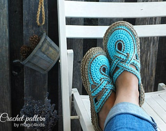 Crochet pattern- women crossed straps clogs with rope soles,soles pattern included,slip ons,shoes,loafers,scuffs,slippers,adult,cord