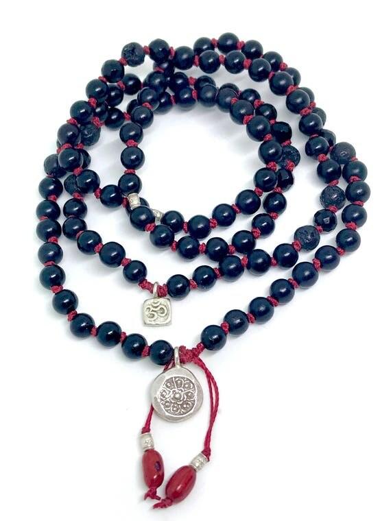 Onyx Mala Beads - Bohemian Jewelry - Root chakra Mala Beads - 108 Mala Bracelet - Jewelry With Meaning - Yoga Jewelry - Bohemian Mala Beads
