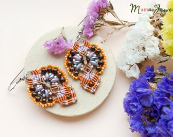 Orange macrame earrings, beaded, bohemian, dangle, boho chic, beadwoven, beadwork, micro-macrame jewelry, orange purple brown. autumn, fall