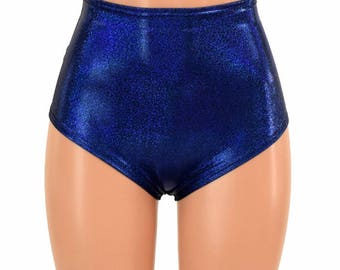 """High Waist """"Siren"""" Hot Pants in Blue Sparkly Jewel Holographic Spandex Rave Festival Clubwear Sparkly Shiny - 155059"""
