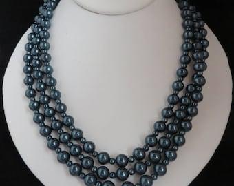 Blue Flapper Necklace, Vintage Dark Teal Blue Long Beaded Necklace, Gift For Her