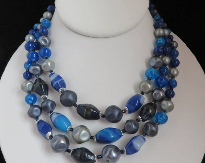 Japan Blue Bead Necklace, Vintage 1960s Multistrand Glass Beaded Choker, FREE SHIPPING