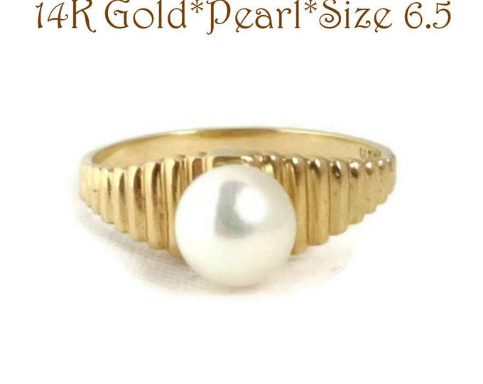 14K Gold Pearl Ring - Vintage Solitaire Pearl Ridged Gold Band Ring, Size 6.5, Perfect Gift, Gift Box