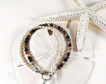 Sea Glass Bracelet|Seaglass Bracelet|Sea Glass Jewelry|Gemstone Bracelet|Pearl Bracelet|Double Strand Bracelet|Gift For Her|birthday gift