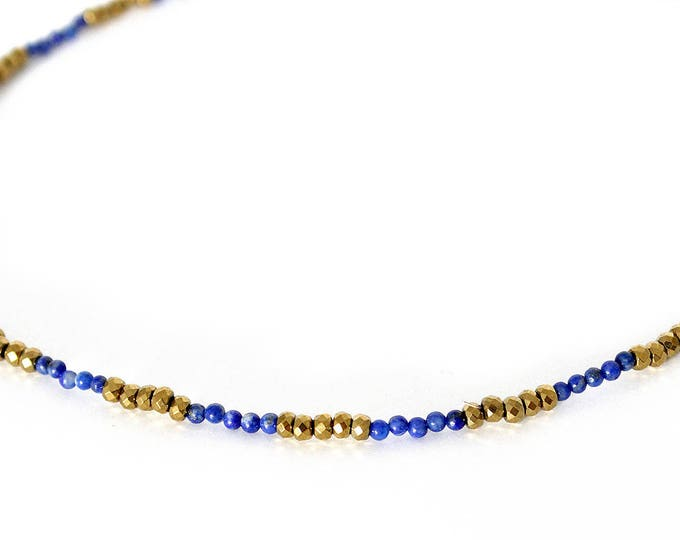 Choker necklace with agate and pyrite beads
