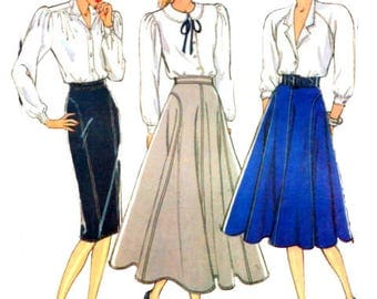 Uncut Sewing Pattern Vintage 1980s Style 1095 Misses' Flared Skirt In Two Lengths