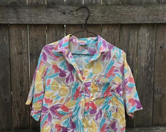 90s Colorful Abstract Print Pocket Button Up