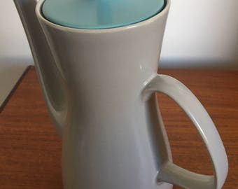 Mid Century Poole Pottery 'Twintone' Coffee Pot in Dove Grey & Sky Blue