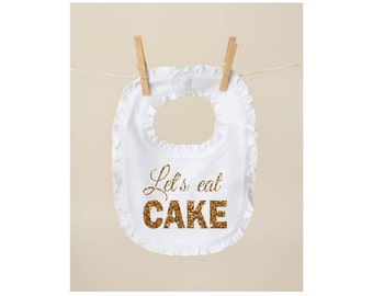 birthday bib 1st birthday bib smash cake bib let's eat cake bib gold glitter bib