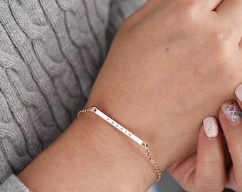 Custom Name Bracelet, Personalized Bracelet, best friend gift, rose gold bracelet, bar bracelet, engraved bracelet, Mother daughter Jewelry