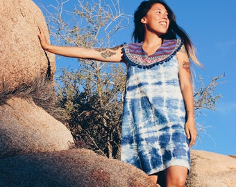 Tie Dye Blue Tank Dress - Handmade Minimal Chic Summer Dress