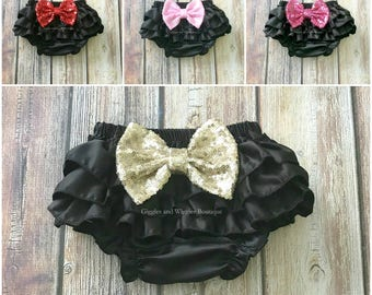 Baby girl clothes, black bloomers, baby bloomers, diaper cover, newborn girl bloomer, infant girl outfit, baby bows,  baby shower gift