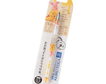 Japan Disney Kuru Toga Auto Lead Rotation 0.5mm Mechanical Pencil Winnie the Pooh Bear & Piglet Best Friend