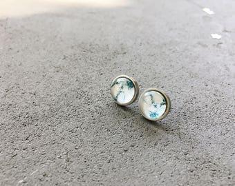 White marble stud earrings in turquoise, CuteBirdie