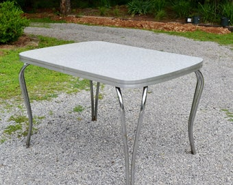 Vintage Formica Kitchen Table Dinette Dining Table Gray Top Chrome Legs Louisville Chair Co Retro Furniture PanchosPorch