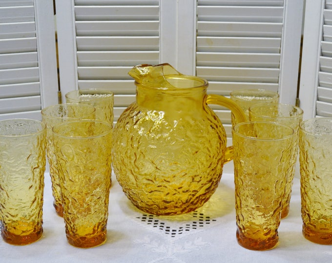 Vintage Lido Milano Amber Glass Pitcher with 8 Glass Tumblers Crinkle Pattern Anchor Hocking PanchosPorch