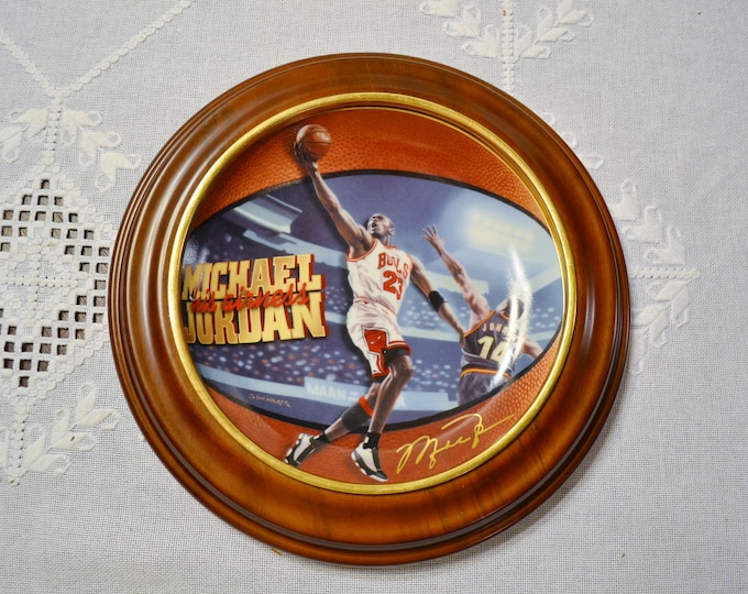 Michael Jordan Plate His Airness Wooden Frame Signed Decoative Limited Edition Collectible Plate
