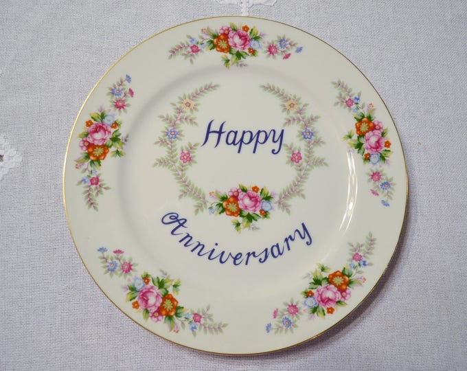 Vintage Happy Anniversary Plate by Norleans Decorative Gift Plate Pink Flowers Japan PanchosPorch