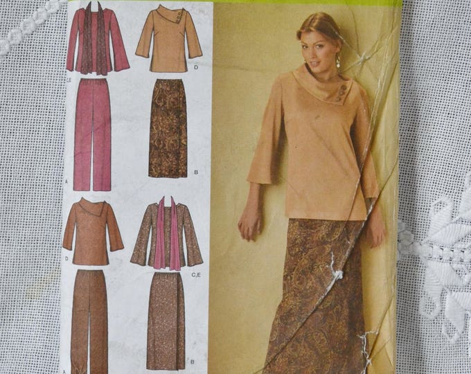 Simplicity 4886 Sewing Pattern Misses Top Pants Skirt Scarf Size 10 to 18 DIY Fashion Sewing Crafts PanchosPorch