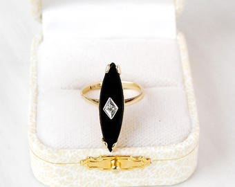 14k Black and Gold, Onyx and Diamond Ring, Size 6.25, Vintage Estate Jewelry, Marquis Cut Stone, Art Deco Signet, Minimal Modern