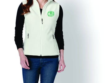 Plus size Monogram Woman's Vest, Personalized Fleece Vest, Monogram Fleece Vest, Gift for woman, gift for mom,  gift for her  6 colors