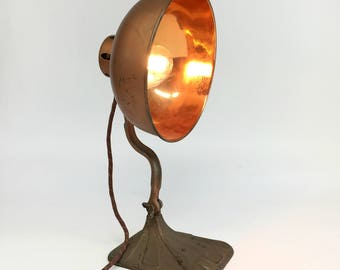 Copper Desk Lamp, Cast Iron Lamp, Industrial Lamp, Antique Copper Lamp, Man Cave Lamp, Steam Punk Lamp, Reclaimed Lighting