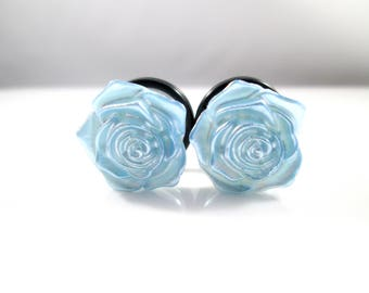 Light Baby Blue Rose Flower Plugs - Available in 00g, 7/16 in, 1/2 in, and 9/16 in.
