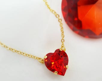 Red Heart Necklace ~ Swarovski Heart Crystal ~ Gold Heart Pendant ~ Romantic Jewelry ~ Heart Necklace Girlfriend Gift~ Ruby Birthstone N3105