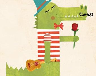 Romantic Wall Art / Crocodile Print / Romantic Illustration / Crocodile Drawing / Romantic Drawing / Romantic Crocodile / Romantic Print