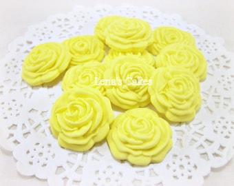 12 Sugar Flower Fondant Gumpaste Rose Edible Fondant Cake Cupcake Topper Wedding Yellow Candy Favor Baby Shower Favor Gift Flower Topper
