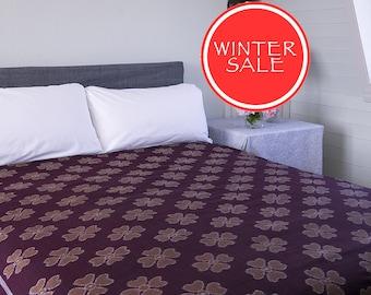 WINTER SALE - IKAT Bedspread - Dark red with brown flowers