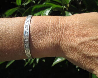 Sterling Storm Cloud Stamped Cuff Bracelet