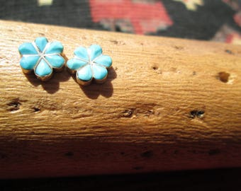 Vintage Turquoise and Sterling Silver Post Earrings